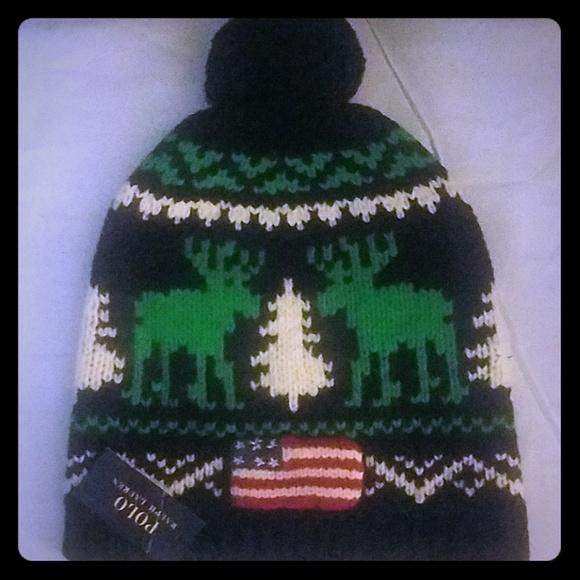 d4a36da5208 NWT Polo Ralph Lauren Flag Reindeer Pom Pom Beanie